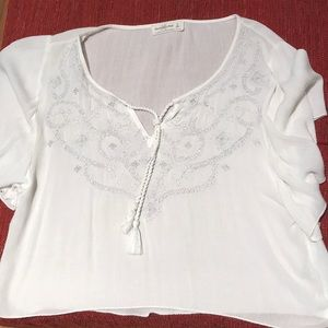 Front tie embroidered white blouse
